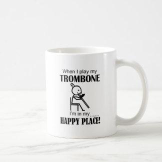 Trombone Happy Place Basic White Mug