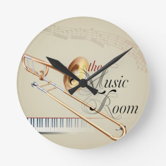 Trombone Music Room Round Clock