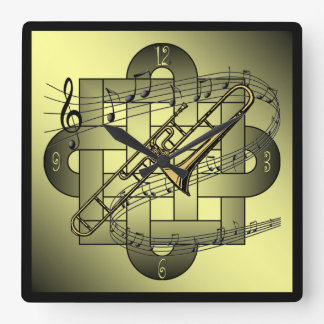 Trombone ~ Musical Scale ~ Double Knot Graphic ~ Square Wall Clock