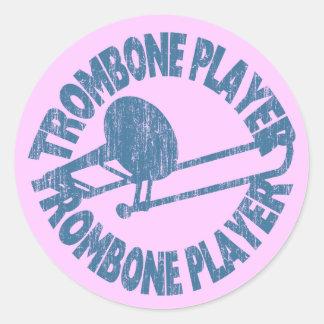 Trombone Player Classic Round Sticker