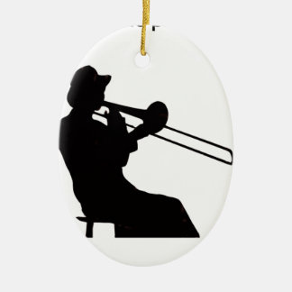 Trombone player in da house ceramic oval decoration