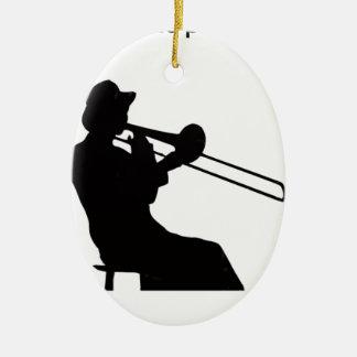 Trombone player in da house christmas ornament