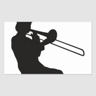 Trombone player in da house rectangular sticker