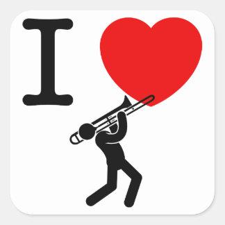 Trombone Player Square Sticker