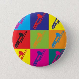 Trombone Pop Art 6 Cm Round Badge