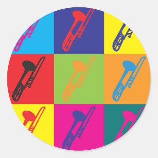 Trombone Pop Art Classic Round Sticker