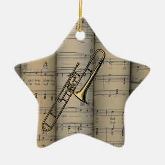 Trombone ~ Rolled Sheet Music Background ~ Musical Christmas Ornament