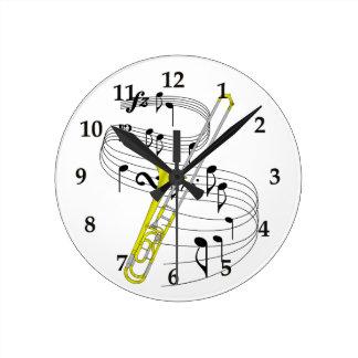 Trombone Round Clock