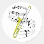 Trombone Round Sticker