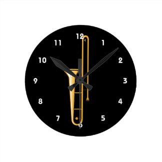 trombone upright graphic round clock
