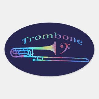 Trombone with Bass Clef Oval Sticker