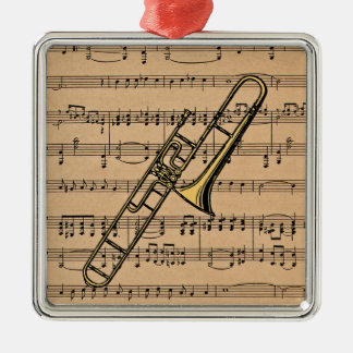 Trombone With Sheet Music Background Christmas Ornament
