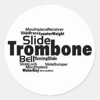 Trombone Word Cloud Black Text Classic Round Sticker