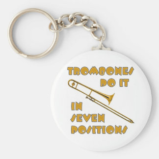 Trombones Do It In 7 Positions Basic Round Button Key Ring