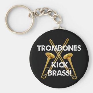 Trombones Kick Brass! Basic Round Button Key Ring