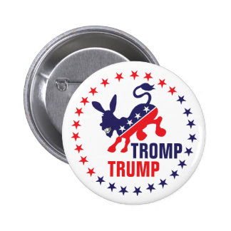 Tromp Trump Kicking Democratic Donkey Political 6 Cm Round Badge