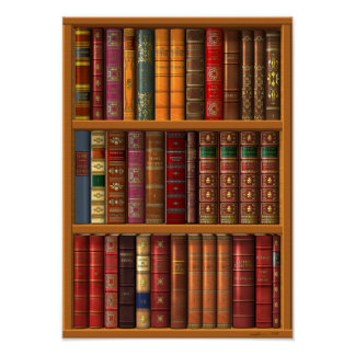 Trompe l oeil French library Posters