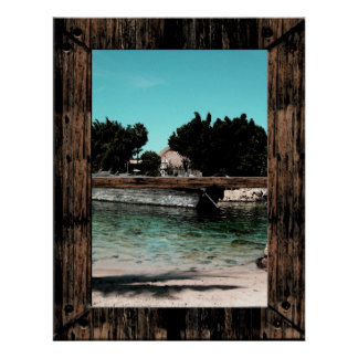 Trompe l oeil Window Poster Beach Shipwrecked Boat Poster