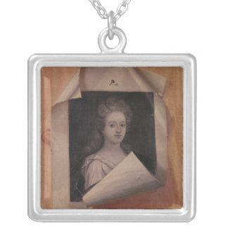 Trompe l'Oeil Portrait of a Lady Silver Plated Necklace