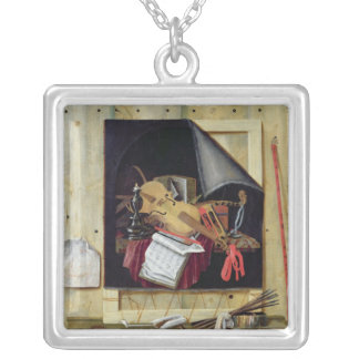 Trompe l'Oeil Still Life, 1665 Silver Plated Necklace