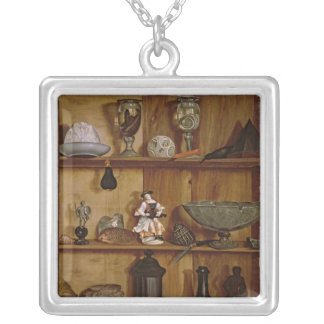 Trompe l'Oeil with a Statuette of Hercules Silver Plated Necklace