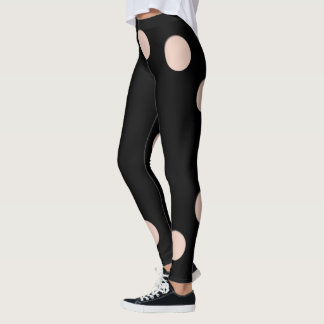 Trompe l'oeil with Circle holes for skin tone Leggings