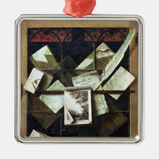 Trompe l'oeil with letters and notebooks, 1665 christmas ornament