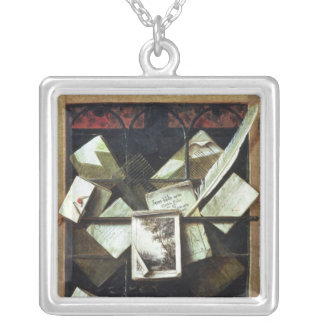 Trompe l'oeil with letters and notebooks, 1665 silver plated necklace
