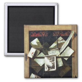 Trompe l'oeil with letters and notebooks, 1665 square magnet