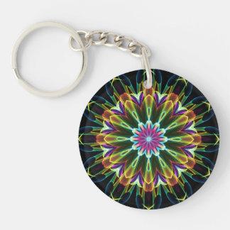 Trompet Flower kaleidoscope Double-Sided Round Acrylic Key Ring