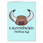 Trondheim Norway Viking Hat Card