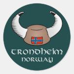 Trondheim Norway Viking Hat Classic Round Sticker