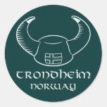 Trondheim Norway Viking Hat Round Sticker