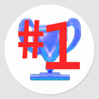 Trophy Blue Cup jGibney The MUSEUM Zazzle Gifts Round Sticker