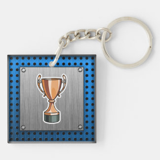 Trophy; Brushed Metal-look Double-Sided Square Acrylic Key Ring
