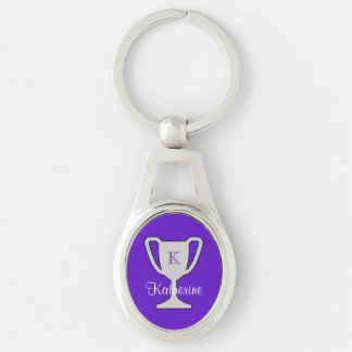 Trophy champion monogram name purple Silver-Colored oval key ring
