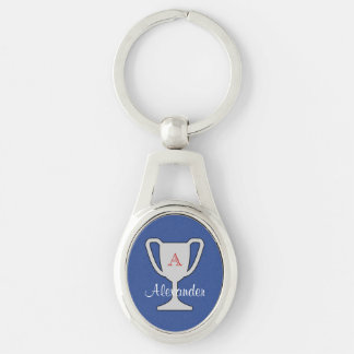 Trophy champion monogram name Silver-Colored oval key ring