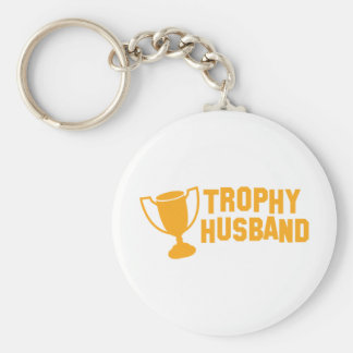 trophy husband basic round button key ring