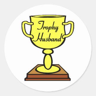 Trophy Husband Round Sticker