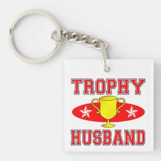 Trophy Husband Single-Sided Square Acrylic Key Ring