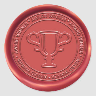 Trophy Sign Wax Seal Round Sticker