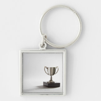 Trophy Silver-Colored Square Key Ring