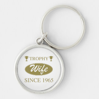 Trophy Wife Since 1965 Silver-Colored Round Key Ring