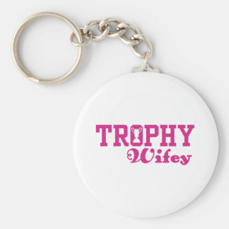 Trophy Wifey Basic Round Button Key Ring