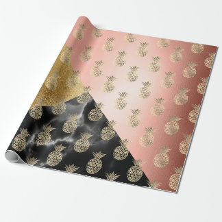 tropic black rose geom marble stone pineapple gold wrapping paper