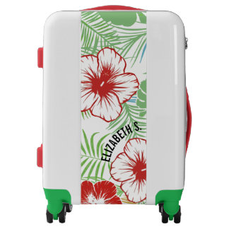 Tropic Hawaiian Bold Hibiscus Flowers Personalized Luggage
