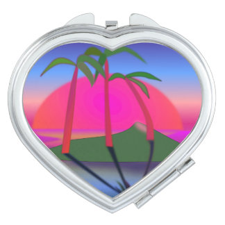 Tropic Island Heart Compact Mirror