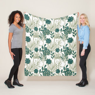 Tropic Monstera Botanical White Leafs Glitter Mint Fleece Blanket