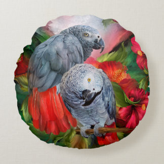 Tropic Spirits-African Greys Art Pillow-Round Round Cushion