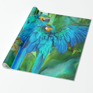 Tropic Spirits - Gold and Blue Macaw Art Gift Wrap